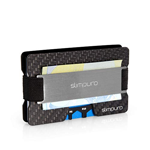 SLIMPURO® Kreditkartenetui mit Münzfach ATTO-Carbon Slim-Wallet mit Aluminium CoinCard – RFID Schutz - Kartenetui mit Geldklammer - Mini Geldbörse Geldbeutel - Designed in Germany (Silber Metal)