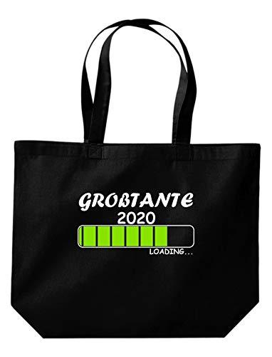 Shirtinstyle Stoffbeutel Jute, Großtante Loading 2020, Logo, Spruch, Verwandschaft, Mann, Frau, Ehe, Liebe, Motiv, Farbe Schwarz