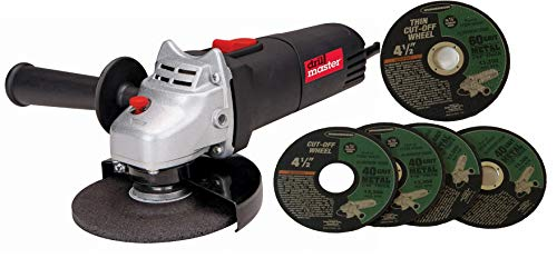 Drill Master 4-1/2' Angle Grinder Electric Power Tool 120v 60625, Plus 5 Wheels (4 Cut-off 40 Grit and 1 Thin Cut-off 60 Grit)