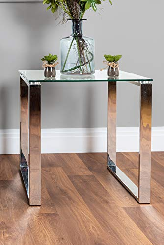 Miami Small Modern Clear Glass and Stylish Chrome Silver Metal Side End Table Stand