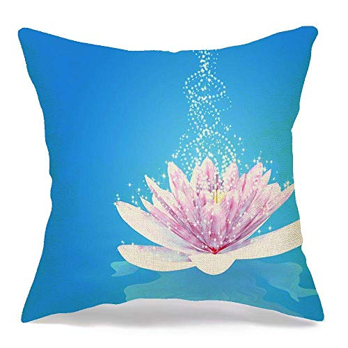 Pamela Hill Throw Pillow Covers Case Single Flower Abstract Magic Lily Calm Nature Waterlily Exotic Fairytale Dream Blue Star Objects 18 x 18 Inch