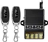 DONJON Interruptor inalambrico, 110V/220V/230V/240V Potente Interruptor RF 433 Mhz inalámbrico para Luces de Techo y Equipo eléctrico, con Alcance de 328ft de Largo (110V Black)