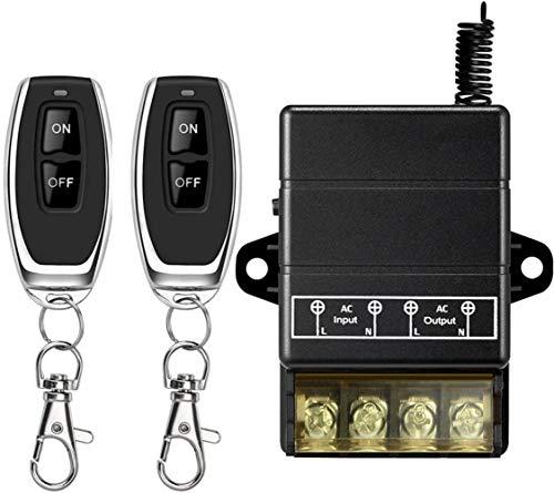 DONJON Fernbedienung Schalter, 110V-240V Leistungsfähiger Wirless-RF-Schalter für Haushaltsgeräte Pumpen Leuchten Deckenventilatoren und elektrische Geräte, mit 328ft Long Range (110V Black)