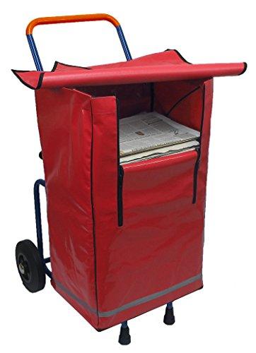 Klappbarer und teilbarer Zeitungsroller Zeitungswagen Multi2 mit Einer Zeitungstasche BigBag in rot, Zustellerbedarf