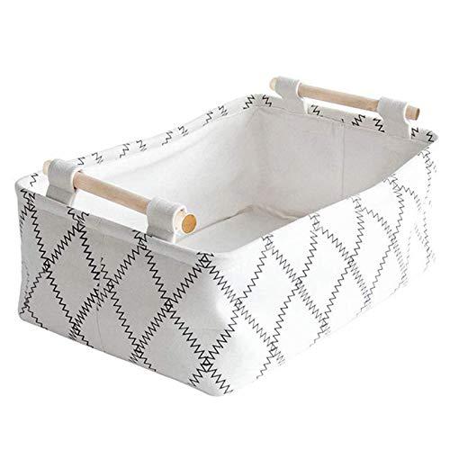Heritan Cestas de almacenamiento decorativas – Cestas plegables de tela de regalo vacías con asas de madera blancas rectangulares plegables S