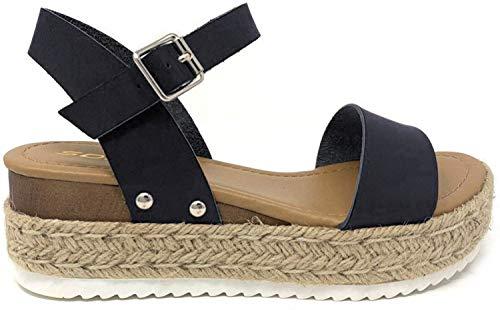 SODA CLIP Top Shoe Women's Open Toe Ankle Strap Espadrille Sandal (6.5 M US, Black NEW)