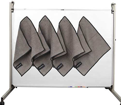 4 Pack Magnetic Cleaning Cloth Dry Erasers For White Boards - Extra Strong Magnet - Compatible with all Whiteboards - Perfect For Classroom, Home and Office Use - Reusable and Washable - 10'' X 10''