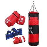 Enfants Enfants Boxe Heavy Punching Training Bag Fitness Sandbag Exercices Workout Power Bag Kick Boxing Training Punching Bag Kit(80CM)
