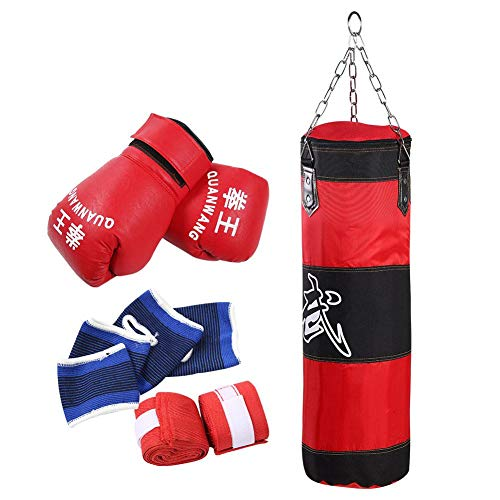 Kinder Kinder Sandsack Boxen - Heavy Punching Trainingstasche Fitness Sandsack Übungen Workout Power Bag mit Handschuhen(80CM)
