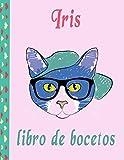 libro de bocetos de Iris: Iris Páginas en blanco con cubierta multicolor de paint art para pintar, dibujar, escribir, dibujar y garabatear, papeles ... 110 páginas... niños, niños, novio y novia
