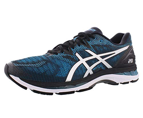 ASICS Men's Gel-Nimbus 20 Running Shoe, Island Blue/White/Black, 6 Medium US