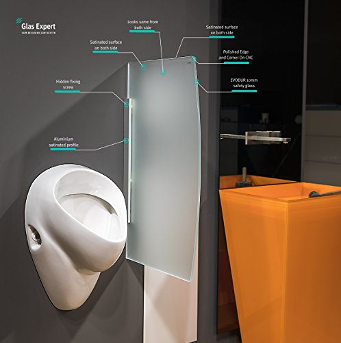 Glas Expert | Glas Urinal Trennwand | 45cm x 80cm | Urinal Glaswand | Bidet Toiletten Schamwand | Glas WC Trennwand (Weiß Satin S1)