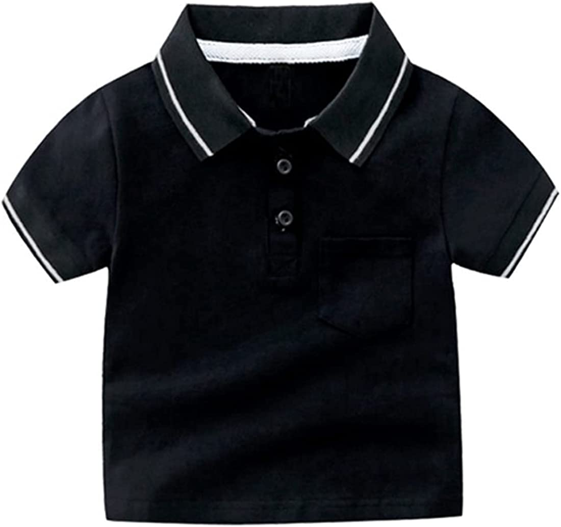 AMEBELLE Toddler Boys' Summer Short Sleeve Striped Polo T Shirts with Pocket