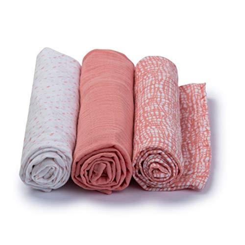 Urban Kanga Weicher Musselin Tuch 70 X 70 cm Mullwindeln Mulltücher Spucktücher Stoffwindeln für Baby - 3er-Pack (Rosa Mesh)