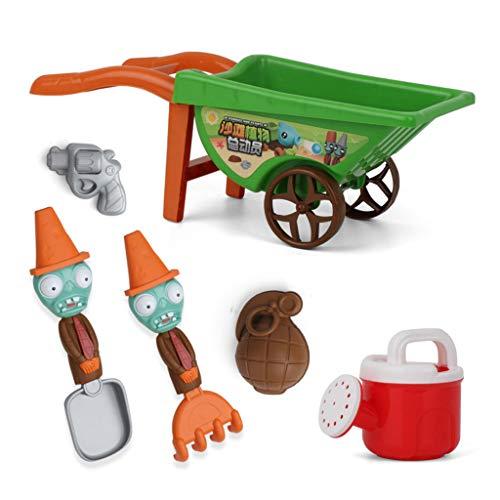 YOYOHO 7 Piezas Carretilla Juguetes de Playa para niños Juguetes de Arena para Construir moldes de Castillos de Arena - Verde