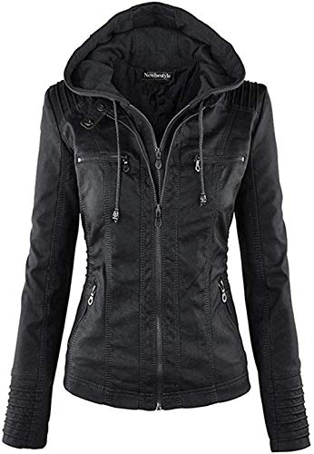 Newbestyle Jacke Damen Lederjacke Frauen mit Zip V Ausschnitt Kunstleder Bikerjacke Jacket Casual Übergangsjacke (Normale EU-Größe) (Schwarz, XXL/46)