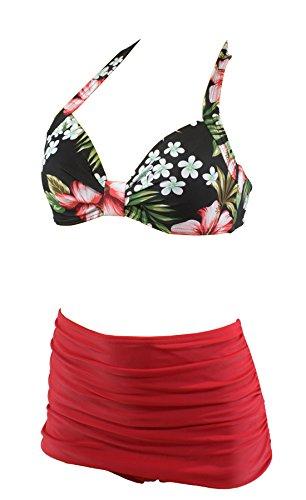 Aloha-Beachwear Tiki Vintage Strandmode Rockabilly Fifties Damen Bikini A1021 (XL / 44 / UK 18, Top Mehrfarbig/Unterteil Rot)