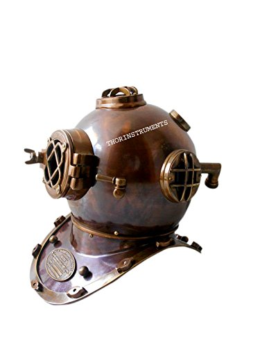 Vintage Diving Divers Helmet Solid Iron & Brass 18' Antique US Navy
