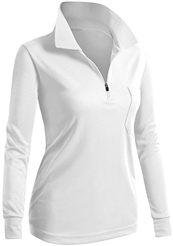 CLOVERY Golf Wear Moisture Wicking Long Sleeve Zipup POLO Shirt WHITE US M/Tag M