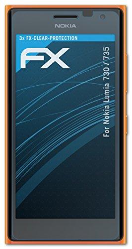 atFolix Schutzfolie kompatibel mit Nokia Lumia 730/735 Folie, ultraklare FX Bildschirmschutzfolie (3X)