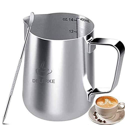 DELERKE Milchkännchen, 400 ml Handheld Edelstahl Aufschäumkännchen, Kaffee Creamer Milch Aufschäumer Kännchen Tasse mit Messung Mark und Latte Art Pen Silber