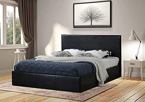Modernique Double Ottoman Storage Faux Leather Double Bed Frame (4FT6) Bounce Sprung Slats Base (Black, Double 4FT6)