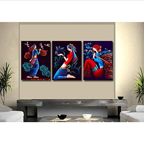 Djkaa 3-delige muurschildering voor vrouwen met olieverfschilderij op cijfers, modern, met de hand beschilderd, voor het schilderen op cijfers 40*50cm(15.75*19.69 inch) Met frame