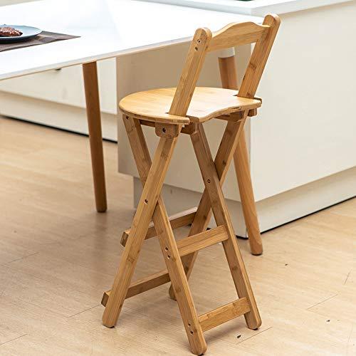 Taburete plegable taburete alto respaldo taburete alto banco pequeño portátil de madera...