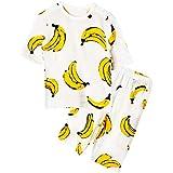 Unifriend 7分袖7分丈 キッズ 女児 綿100% オーガニック ルームウェア パジャマ ねまき 上下セット_ドローイングバナナ (ホワイト)_130cm