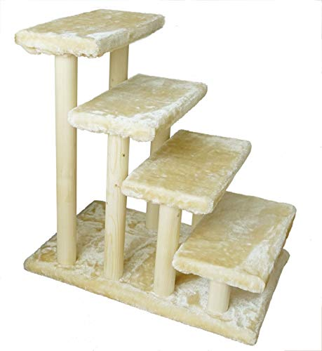 Cowboy Wooden pet Stairs 4-Step pet Ladder cat Dog Easy Stairs with Detachable Carpet for high Bed and Couch (Beige)