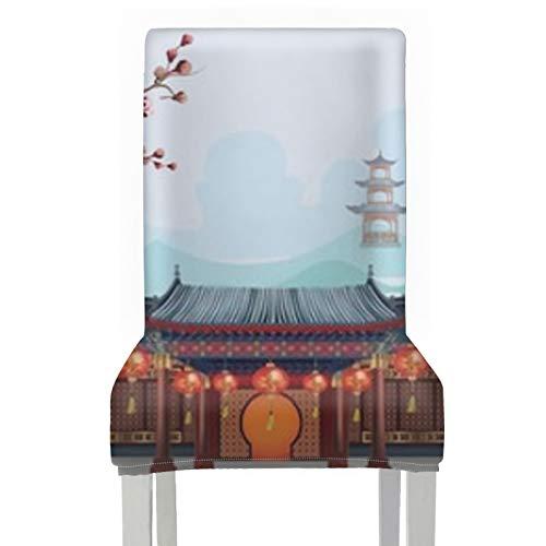 RAUP Stuhlbezug Chinesische traditionelle Gebäude Laternen hängen zusammen, 1 Stück Stretch Abnehmbar Waschbar Esszimmer Stuhlschutz Schonbezüge Weihnachtsdekoration/Wohnkultur Esszimmer Sitzbezug