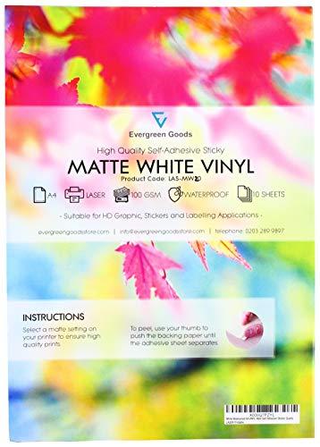 20 Zelfklevende A4-vellen, alleen laserprinter, wit waterdicht Vinyl Matt Stickervel