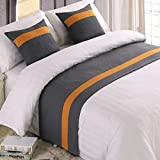 Mengersi Solid Color Soft No Fading Modern Bed Runner Bedding Scarf Protection for Bedroom Hotel Wedding Room (King, Gray)
