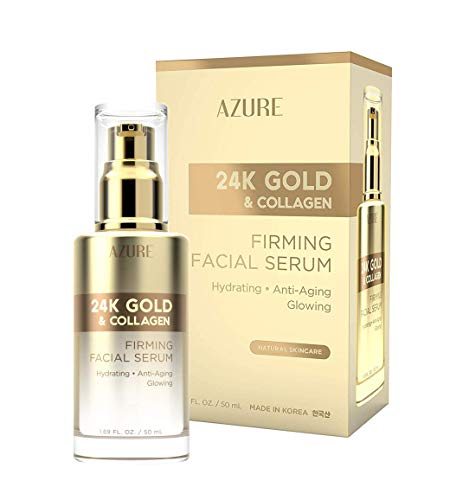 AZURE 24K Gold & Collagen Firming Facial Serum - Lifting, Toning & Hydrating | Reduces Wrinkles, Fine Lines & Creases | Soothes & Protects Skin | Made in Korea - 50mL