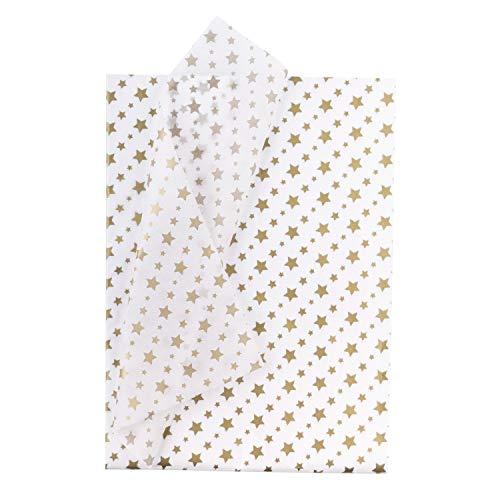 RUSPEPA Papel De Seda Para Envolver Regalos - Papel Metalizado Blanco Dorado Con Estampado De Estrellas A Granel Para Papel De Regalo,Manualidades,Bricolaje,Bolsas De Embalaje - 50 X 70cm - 25 Hojas