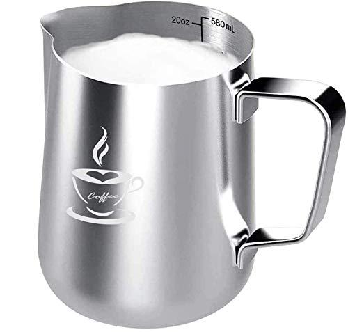 onehous Milchkännchen Edelstahl 600ml, Milk jug, Milchaufschäumer Perfekte Größe für 4 Cappuccino Tassen, Barista Stift für Latte Art, Einfach zu reinigen, Silber (600ml)