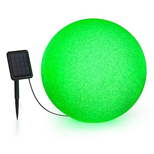Blumfeldt Shinestone - Solar 50 Kugelleuchte Solarleuchte Außenleuchte Gartenlampe, autark: inkl. Solarpanel mit 2 m Kabel, Größe: Ø 50 cm, LED-Beleuchtung mit 16 Farben, Material: PE, grau meliert