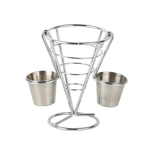 Cabilock French Fries Stand Buffet Popcorn Snacks Display Rack Chicken Fries Holder Stand Foods Sauce Chip Taper Baskets (Double Cup)