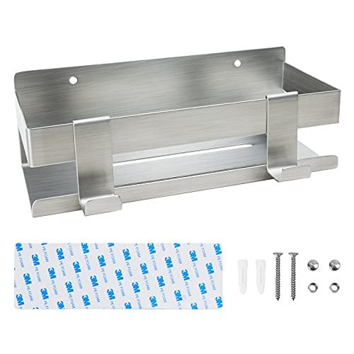 GOODCORNER Estantería de ducha sin taladrar, de acero inoxidable SUS304, para baño y cocina, con 2 ganchos, paquete de hardware (para montaje con tornillos)
