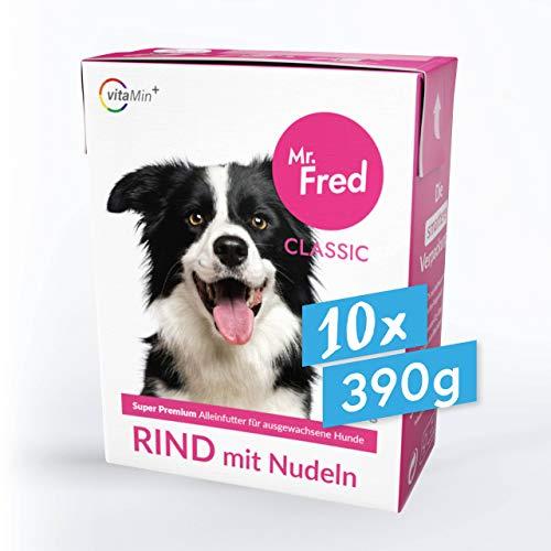 Mr. Fred- Hundefutter nass   Super Premium Nassfutter für Hunde   10 x 390g   Lebensmittelqualität   Rind mit Nudeln   wiederverschließbar