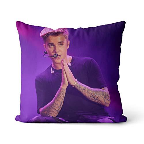 Almohada súper Suave Justin Bieber 40x40cm U Smile Justin Bieber Funda de cojín Decorativa para sofá, Dormitorio, decoración de Sala de Estar