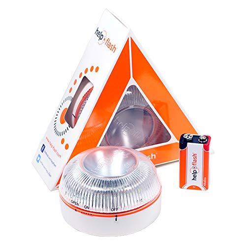 HELP FLASH HFAA-01 Estandar Luz de Emergencia Autónoma Señal V16 de Preseñalización de Peligro, Homologada, Autorizada por la DGT, Blanco ✅