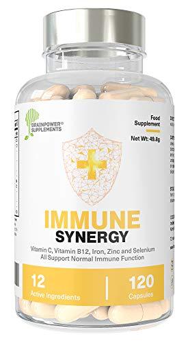 Immune Support   Vitamin C, Iron, Grapeseed, Ginger Root, Black Garlic, Cranberry, Zinc, Selenium, Turmeric, Rosehip, Acidophilus, Vitamin B12  120 Capsules (60 Servings)   GF + Vegan   UK Made   GMP