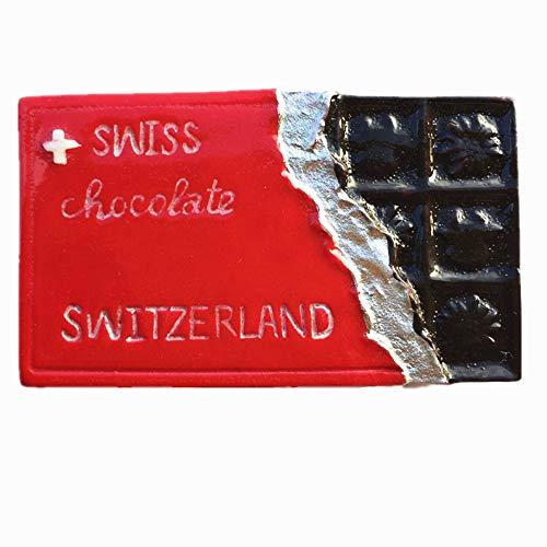 MUYU Magnet Chocolate Suizo Suiza Imán de Nevera 3D Regalo de Recuerdo Turístico Decoración de Cocina y Hogar Etiqueta Magnética Suiza Colección de Imanes de Nevera