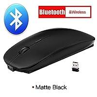 マウス マウスワイヤレスマウスのBluetooth 4.0コンピューターマウスサイレントPC人間工学のマウスUSB光学豆のノートパソコンのための充電可能 ラップトップのためのマウス (Color : Bluetooth Black)