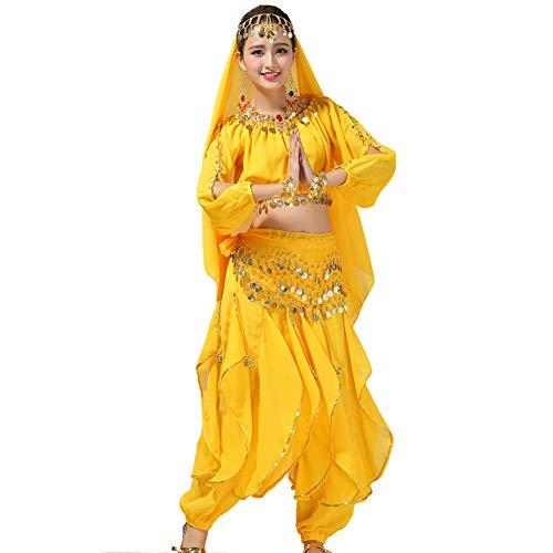 Xinvivion Mujer Danza del Vientre Disfraz, Danza India Etapa de Rendimiento Halloween Carnaval Bailando Outfit,Amarillo