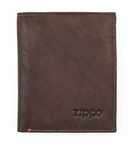 Zippo Leather - Monedero Vertical (12 cm), Brown (Marrón) - 2005122