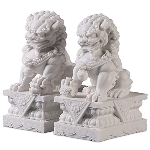 Beijing Lions Pair Fu Foo Dogs, White Stone Guardian...