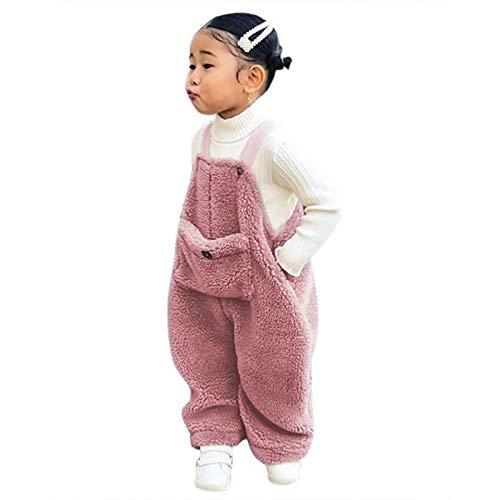 Flanell Strapshose Overall Baby, Mädchen/Jungen - Baumwollmischung - Plüsch Latzhose mit Knöpfen Unisex Winter Hose mit Hosenträger (Rosa, 90)