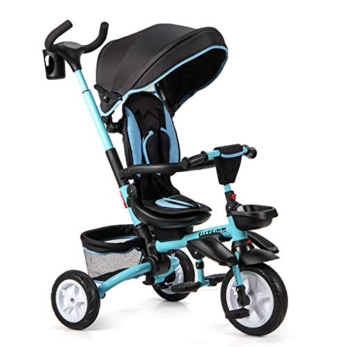 GYMAX 6-in-1 Baby Tricycle, Folding Kids Trike with 360° Swivel Seat & Detachable Canopy, Rear Brake and Parent Handle, Toddler Stroller Pushchair for 12-50 Months (Blue)